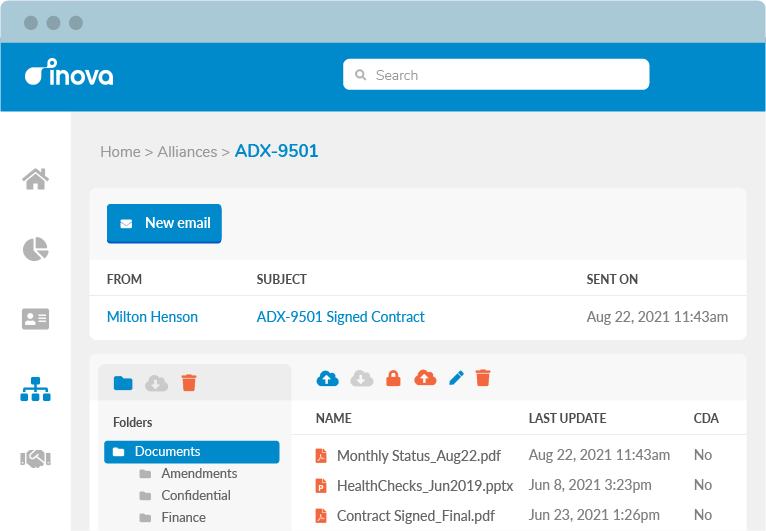 Securely store and share your alliance documents and emails